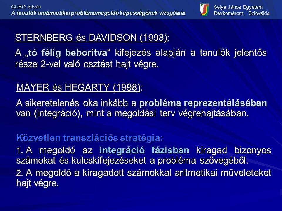 MAYER és HEGARTY (1998): A sikeretelenés oka inkább a probléma reprezentálásában van (integráció), mint a megoldási terv végrehajtásában. Közvetlen tr
