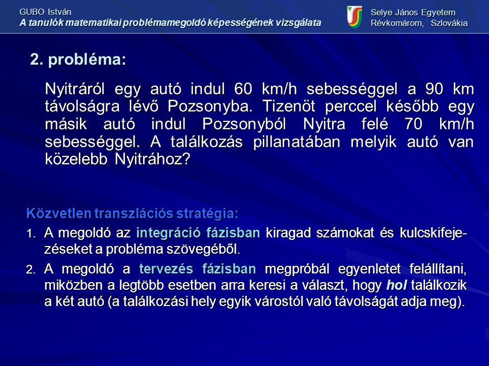 2. probléma: Nyitráról egy autó indul 60 km/h sebességgel a 90 km távolságra lévő Pozsonyba. Tizenöt perccel később egy másik autó indul Pozsonyból Ny