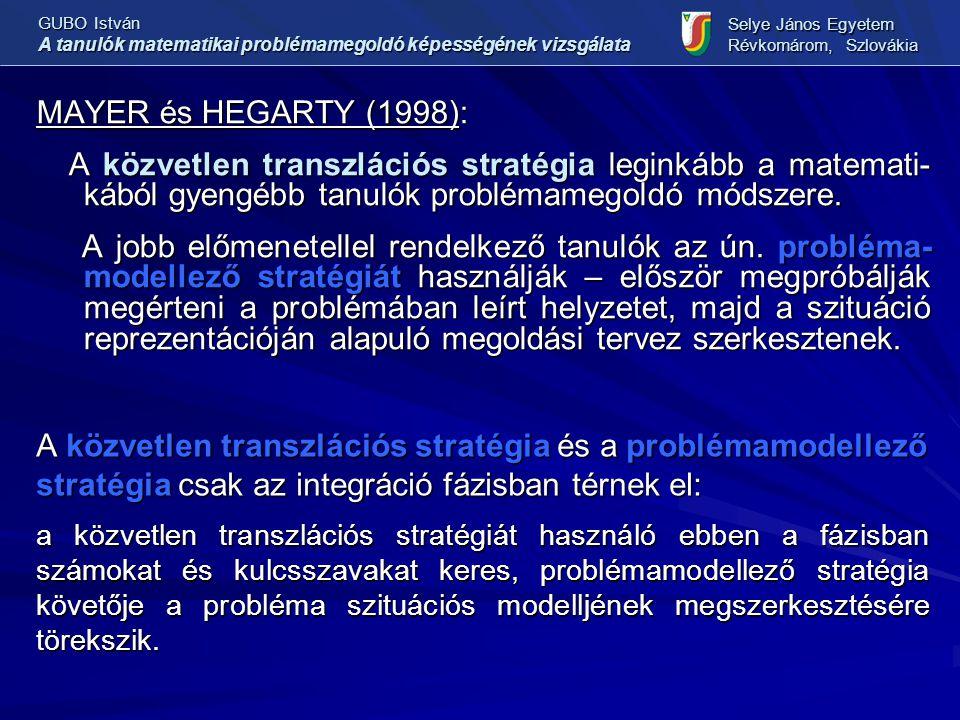 MAYER és HEGARTY (1998): A közvetlen transzlációs stratégia leginkább a matemati- kából gyengébb tanulók problémamegoldó módszere.