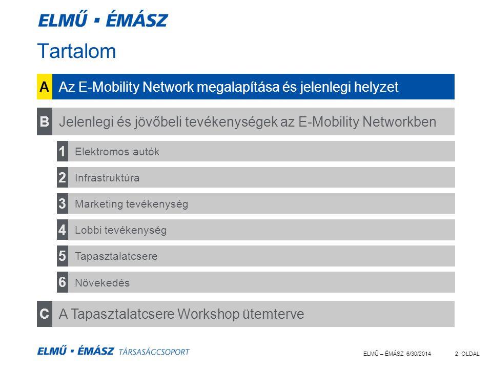 ELMŰ – ÉMÁSZ 6/30/20142. OLDAL Tartalom AAz E-Mobility Network megalapítása és jelenlegi helyzet CA Tapasztalatcsere Workshop ütemterve BJelenlegi és