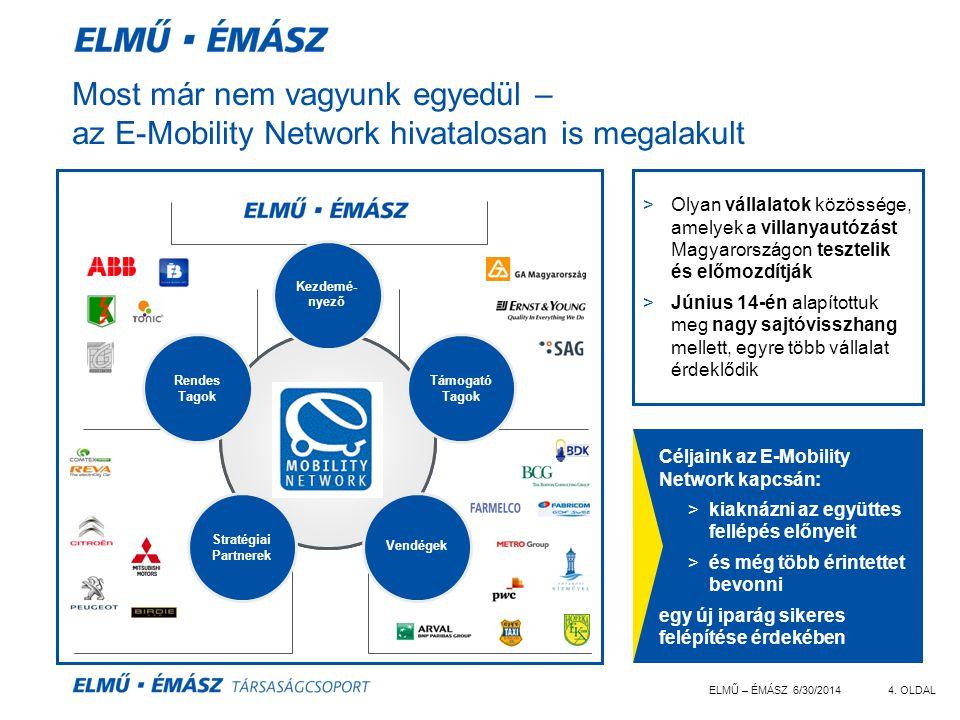 ELMŰ – ÉMÁSZ 6/30/20144. OLDAL Most már nem vagyunk egyedül – az E-Mobility Network hivatalosan is megalakult >Olyan vállalatok közössége, amelyek a v