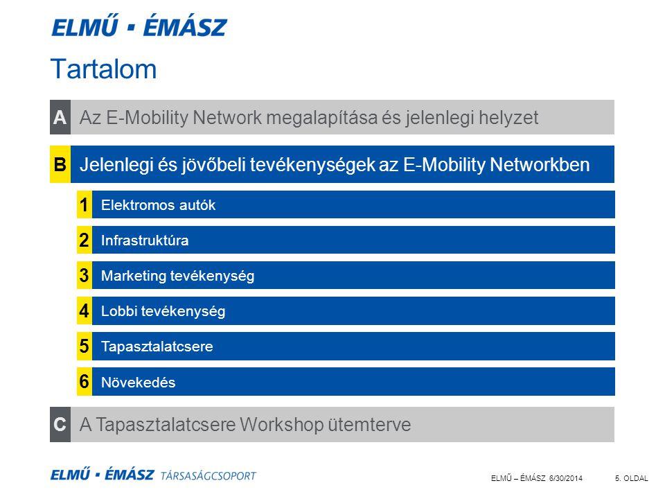 ELMŰ – ÉMÁSZ 6/30/20145. OLDAL Tartalom Az E-Mobility Network megalapítása és jelenlegi helyzet CA Tapasztalatcsere Workshop ütemterve BJelenlegi és j