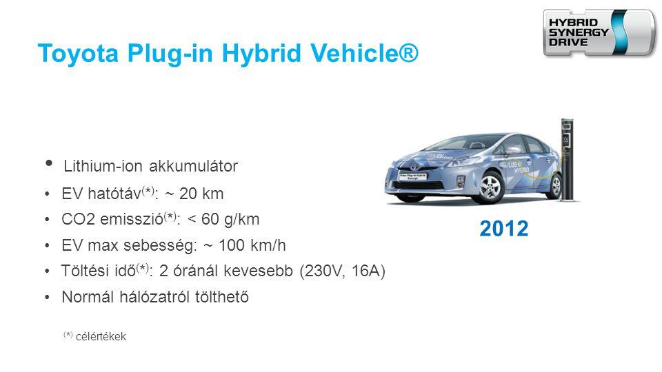 Toyota Plug-in Hybrid Vehicle® • Lithium-ion akkumulátor • EV hatótáv ( * ) : ~ 20 km • CO2 emisszió ( * ) : < 60 g/km • EV max sebesség: ~ 100 km/h • Töltési idő ( * ) : 2 óránál kevesebb (230V, 16A) • Normál hálózatról tölthető ( * ) célértékek 2012