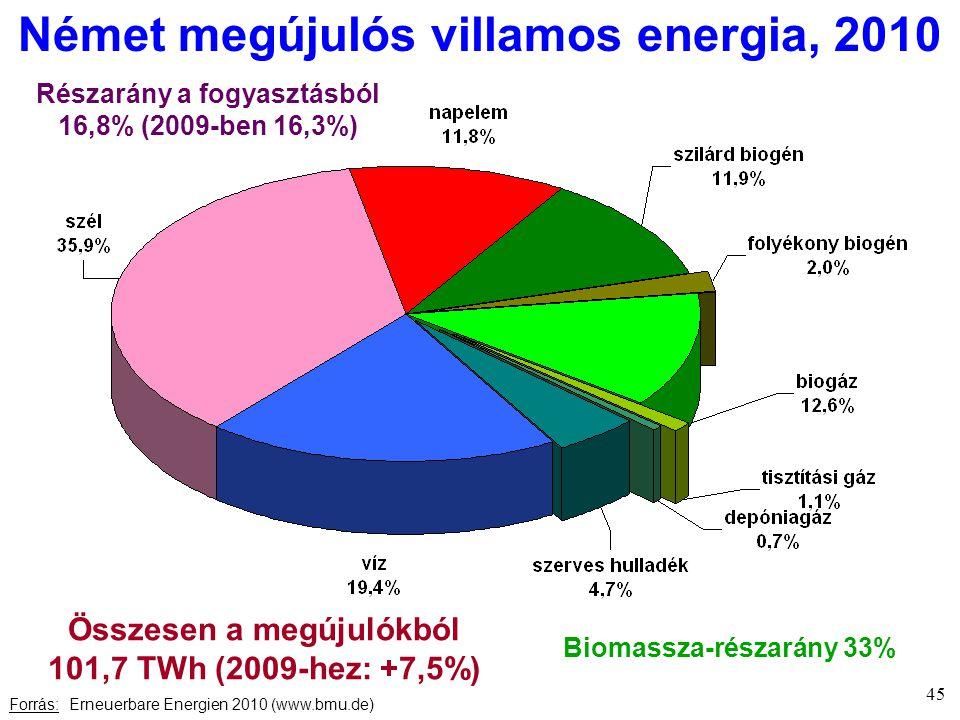 Német megújulós villamos energia, 2010 Forrás: Erneuerbare Energien 2010 (www.bmu.de) Összesen a megújulókból 101,7 TWh (2009-hez: +7,5%) Biomassza-részarány 33% Részarány a fogyasztásból 16,8% (2009-ben 16,3%) 45