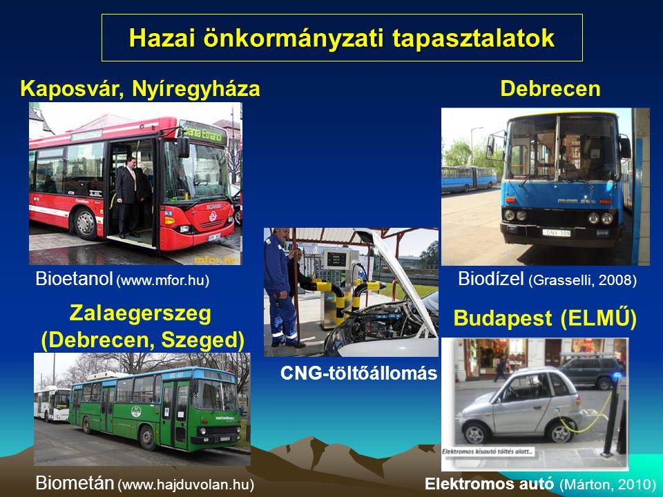 Hazai önkormányzati tapasztalatok Bioetanol (www.mfor.hu) Biodízel (Grasselli, 2008) Biometán (www.hajduvolan.hu) Kaposvár, NyíregyházaDebrecen Zalaeg