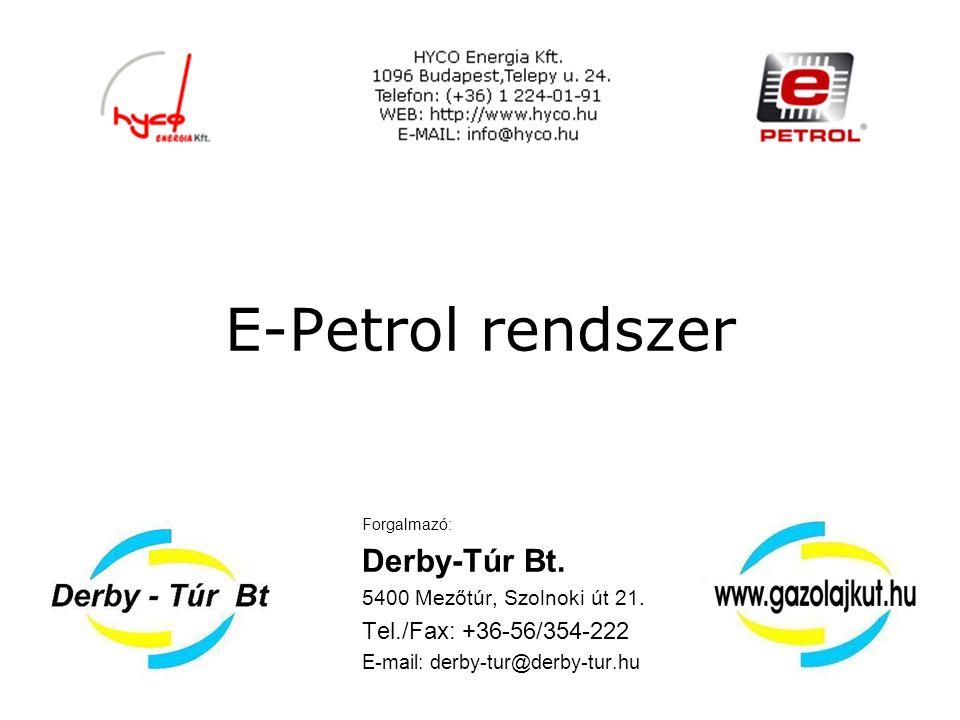Az E-petrol rendszer Az e-petrol rendszer működése és részei: E-petrol kútvezérlővel felszerelt belső kutakon: Az autóba beszerelt e-petrol gépjármű egység a kútra érkezéskor kommunikál a kút-egységgel, továbbítva a legutóbbi tankolás óta eltelt időszak adatait.