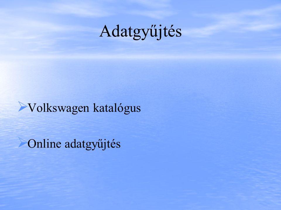 Adatgyűjtés   Volkswagen katalógus   Online adatgyűjtés