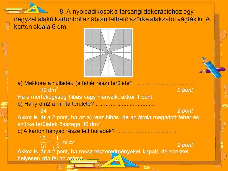 8. A nyolcadikosok a farsangi dekorációhoz egy négyzet alakú kartonból az ábrán látható szürke alakzatot vágták ki. A karton oldala 6 dm. a) Mekkora a