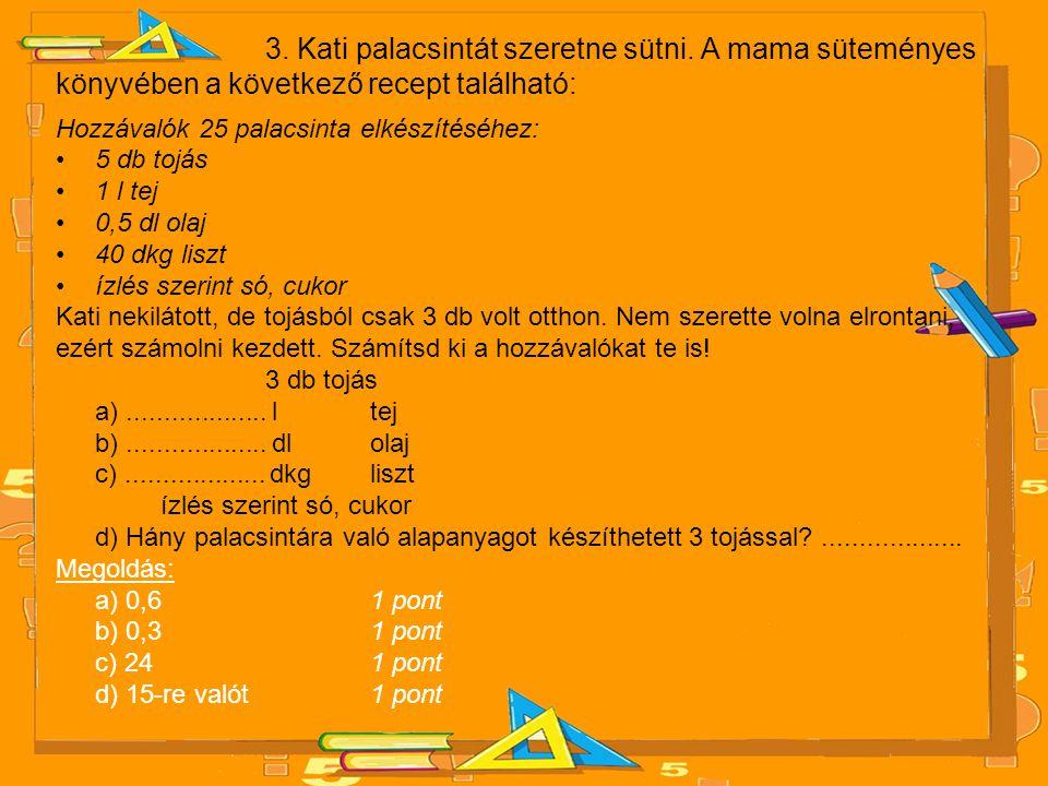 3. Kati palacsintát szeretne sütni. A mama süteményes könyvében a következő recept található: Hozzávalók 25 palacsinta elkészítéséhez: •5 db tojás •1