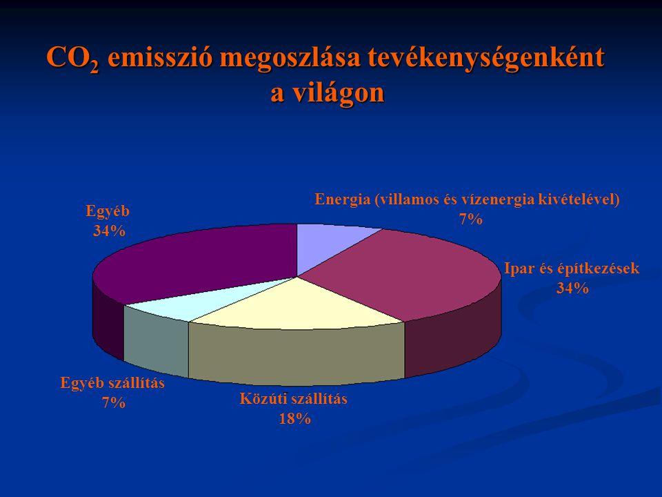 Energia (villamos és vízenergia kivételével) 7% Ipar és építkezések 34% Közúti szállítás 18% Egyéb szállítás 7% Egyéb 34% CO 2 emisszió megoszlása tev