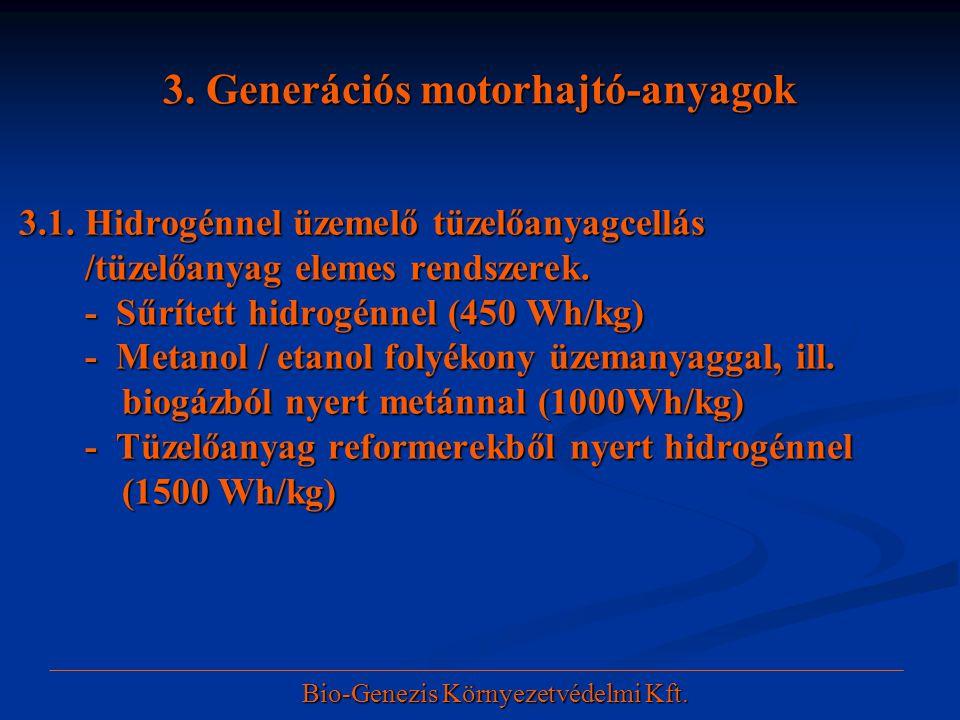 3. Generációs motorhajtó-anyagok 3.1. Hidrogénnel üzemelő tüzelőanyagcellás 3.1. Hidrogénnel üzemelő tüzelőanyagcellás /tüzelőanyag elemes rendszerek.