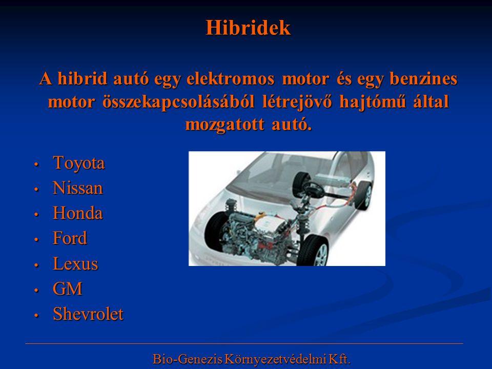 Hibridek A hibrid autó egy elektromos motor és egy benzines motor összekapcsolásából létrejövő hajtómű által mozgatott autó. • Toyota • Nissan • Honda