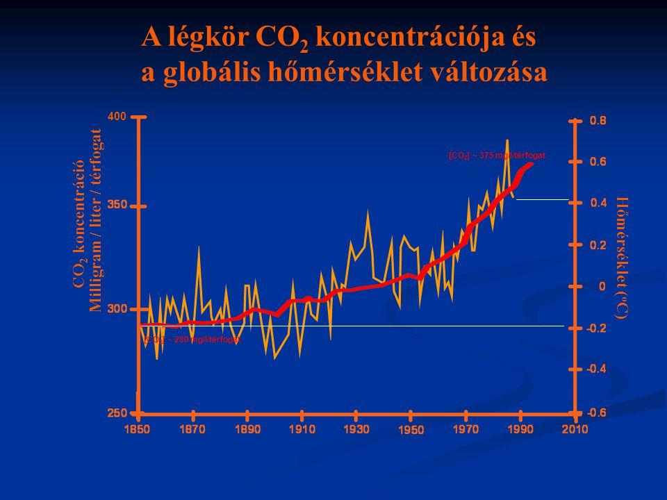Hőmérséklet ( o C) Milligram / liter / térfogat CO 2 koncentráció A légkör CO 2 koncentrációja és a globális hőmérséklet változása 400 [CO 2 ] ~ 280 m