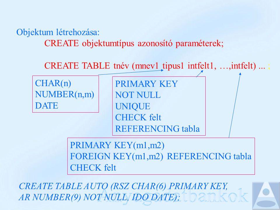 Objektum létrehozása: CREATE objektumtípus azonosító paraméterek; CREATE TABLE tnév (mnev1 tipus1 intfelt1, …,intfelt)... ; CHAR(n) NUMBER(n,m) DATE P
