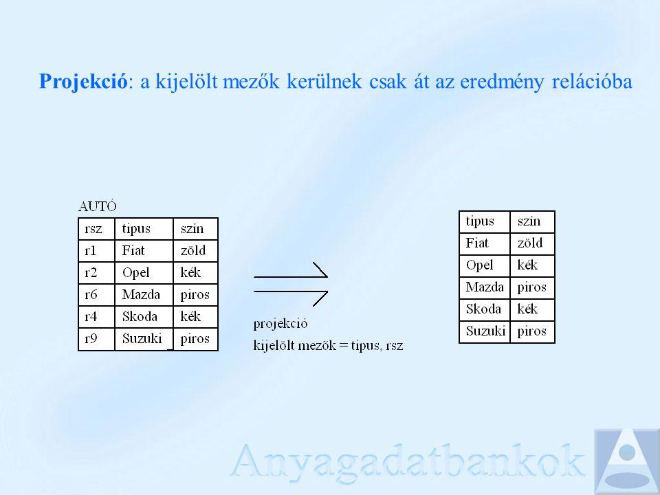 Adatok lekérdezése: SELECT mezőlista FROM tabla1,tabla2,...OUTER JOIN...