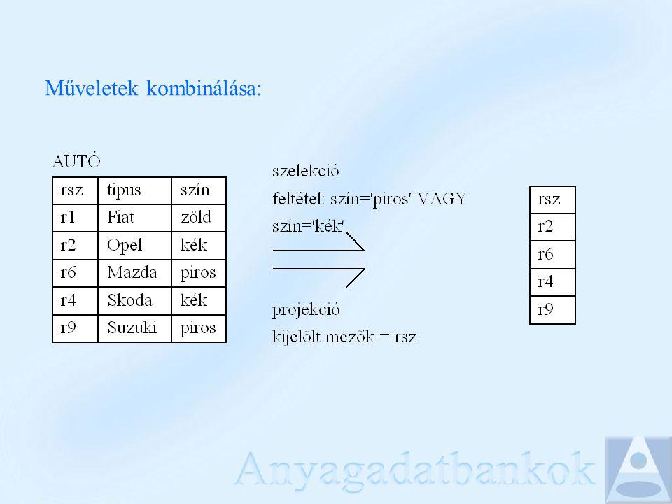 SELECT - a projekció megadása SELECT RSZ, TIPUS FROM AUTO; SELECT mlista FROM tábla; Az mlista helyén * áll, ha minden mező kell
