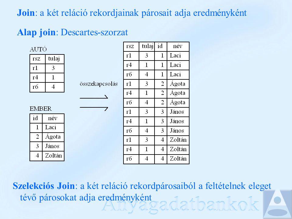 Join: a két reláció rekordjainak párosait adja eredményként Alap join: Descartes-szorzat Szelekciós Join: a két reláció rekordpárosaiból a feltételnek