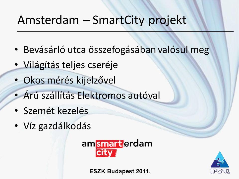 ESZK Budapest 2011. • Bevásárló utca összefogásában valósul meg • Világítás teljes cseréje • Okos mérés kijelzővel • Árú szállítás Elektromos autóval