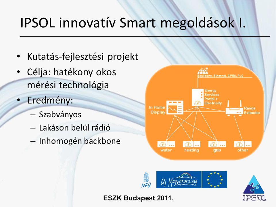 ESZK Budapest 2011. • Kutatás-fejlesztési projekt • Célja: hatékony okos mérési technológia • Eredmény: – Szabványos – Lakáson belül rádió – Inhomogén
