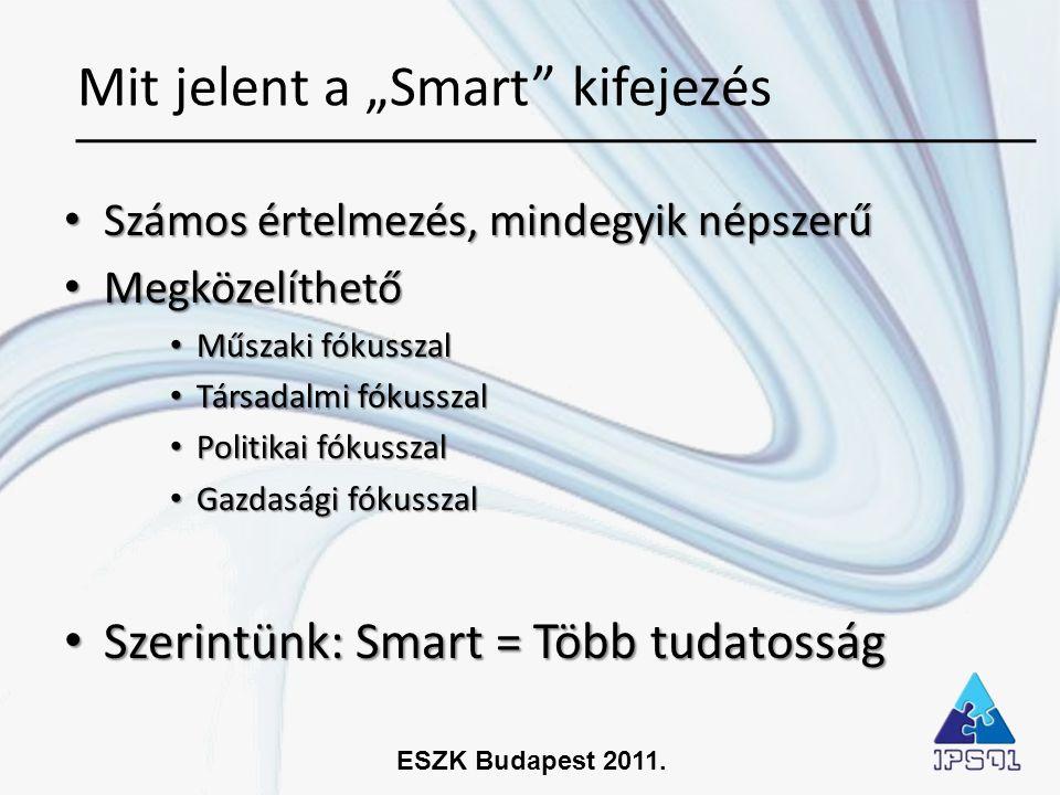ESZK Budapest 2011. • Számos értelmezés, mindegyik népszerű • Megközelíthető • Műszaki fókusszal • Társadalmi fókusszal • Politikai fókusszal • Gazdas
