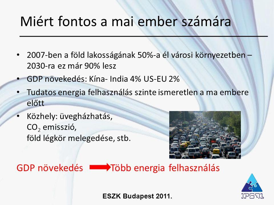 ESZK Budapest 2011. • 2007-ben a föld lakosságának 50%-a él városi környezetben – 2030-ra ez már 90% lesz • GDP növekedés: Kína- India 4% US-EU 2% • T