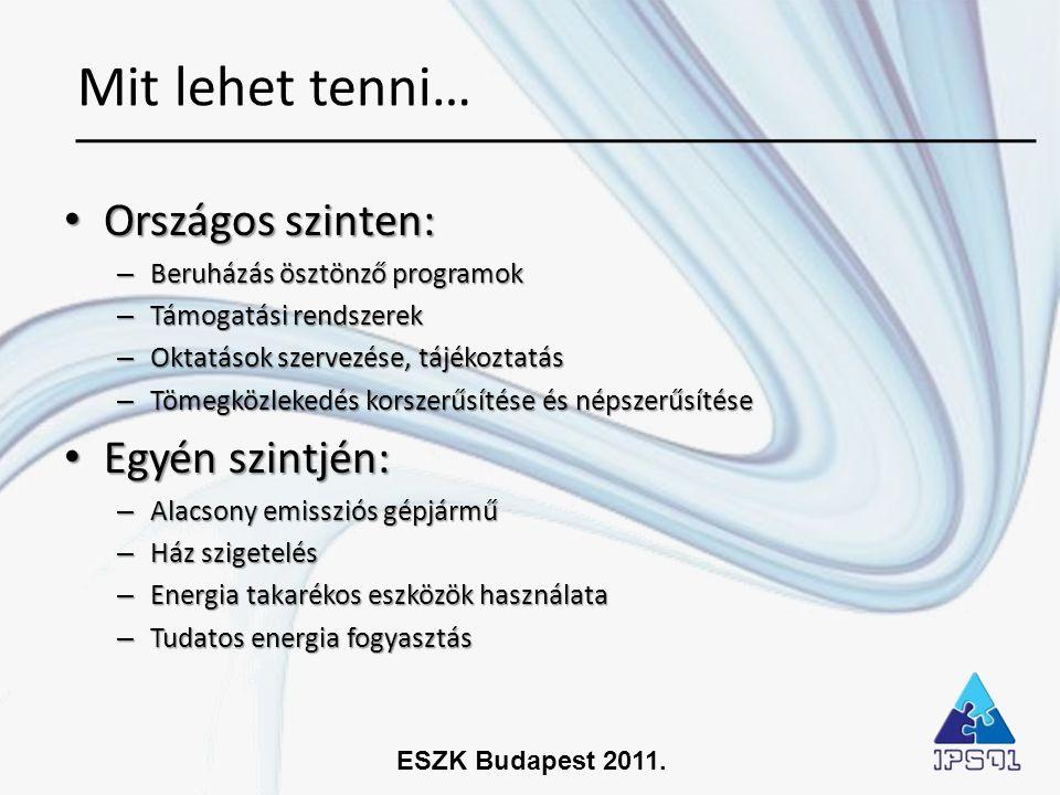 ESZK Budapest 2011. • Országos szinten: – Beruházás ösztönző programok – Támogatási rendszerek – Oktatások szervezése, tájékoztatás – Tömegközlekedés