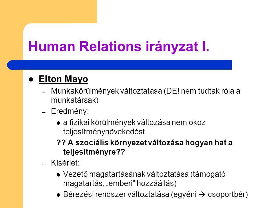 Elton Mayo – Munkakörülmények változtatása (DE! nem tudtak róla a munkatársak) – Eredmény:  a fizikai körülmények változása nem okoz teljesítménynö