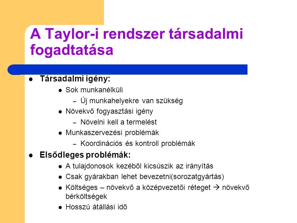 A Taylor-i rendszer társadalmi fogadtatása  Társadalmi igény:  Sok munkanélküli – Új munkahelyekre van szükség  Növekvő fogyasztási igény – Növelni