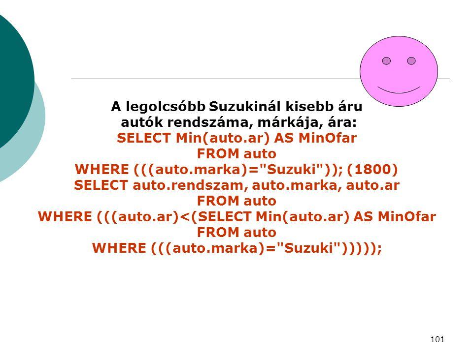 101 A legolcsóbb Suzukinál kisebb áru autók rendszáma, márkája, ára: SELECT Min(auto.ar) AS MinOfar FROM auto WHERE (((auto.marka)=