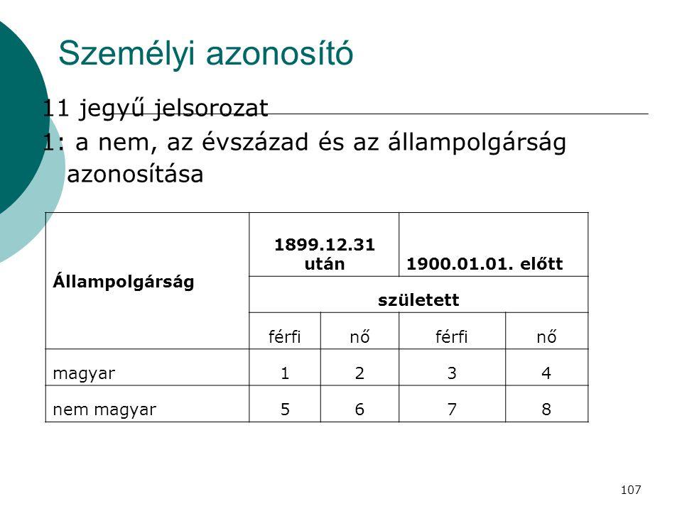 107 Személyi azonosító 11 jegyű jelsorozat 1: a nem, az évszázad és az állampolgárság azonosítása Állampolgárság 1899.12.31 után1900.01.01. előtt szül