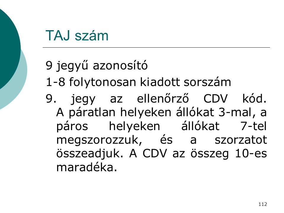 112 TAJ szám 9 jegyű azonosító 1-8 folytonosan kiadott sorszám 9. jegy az ellenőrző CDV kód. A páratlan helyeken állókat 3-mal, a páros helyeken állók