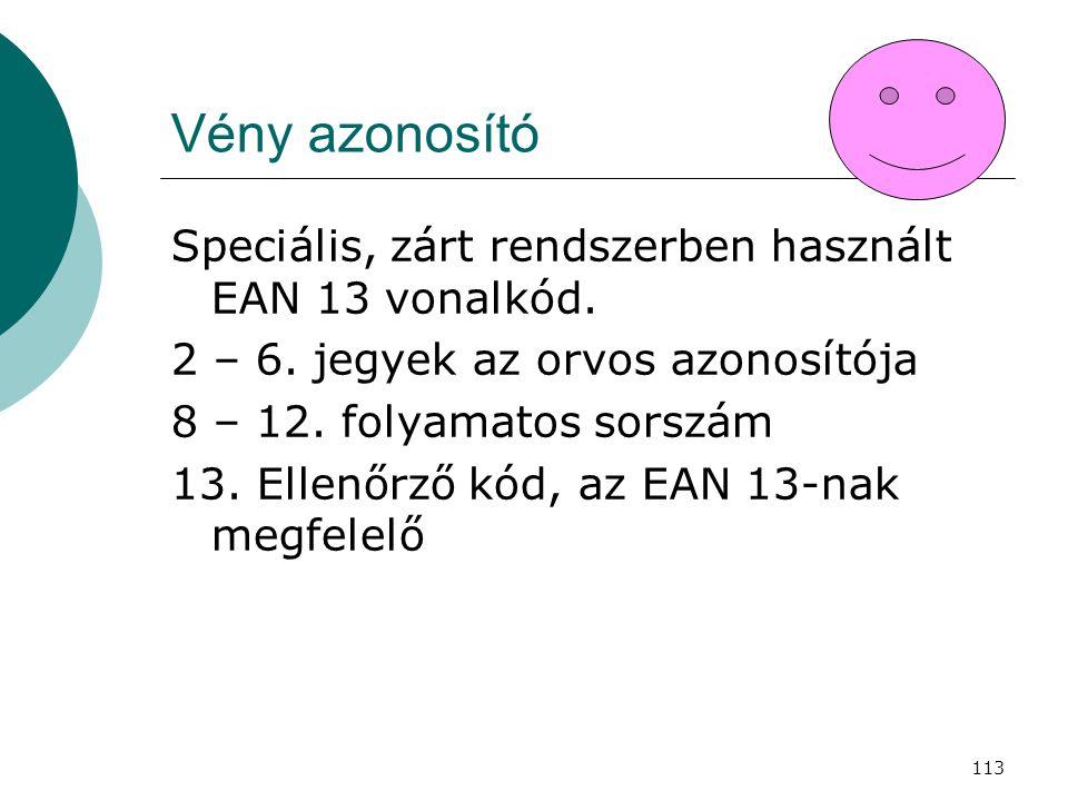113 Vény azonosító Speciális, zárt rendszerben használt EAN 13 vonalkód. 2 – 6. jegyek az orvos azonosítója 8 – 12. folyamatos sorszám 13. Ellenőrző k