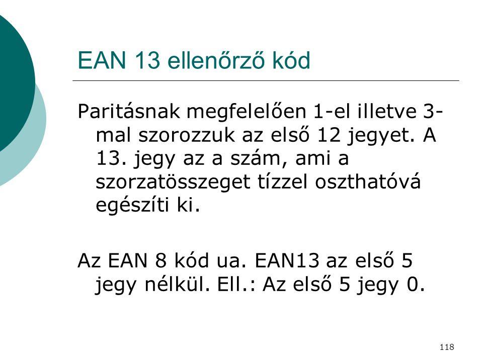 118 EAN 13 ellenőrző kód Paritásnak megfelelően 1-el illetve 3- mal szorozzuk az első 12 jegyet. A 13. jegy az a szám, ami a szorzatösszeget tízzel os