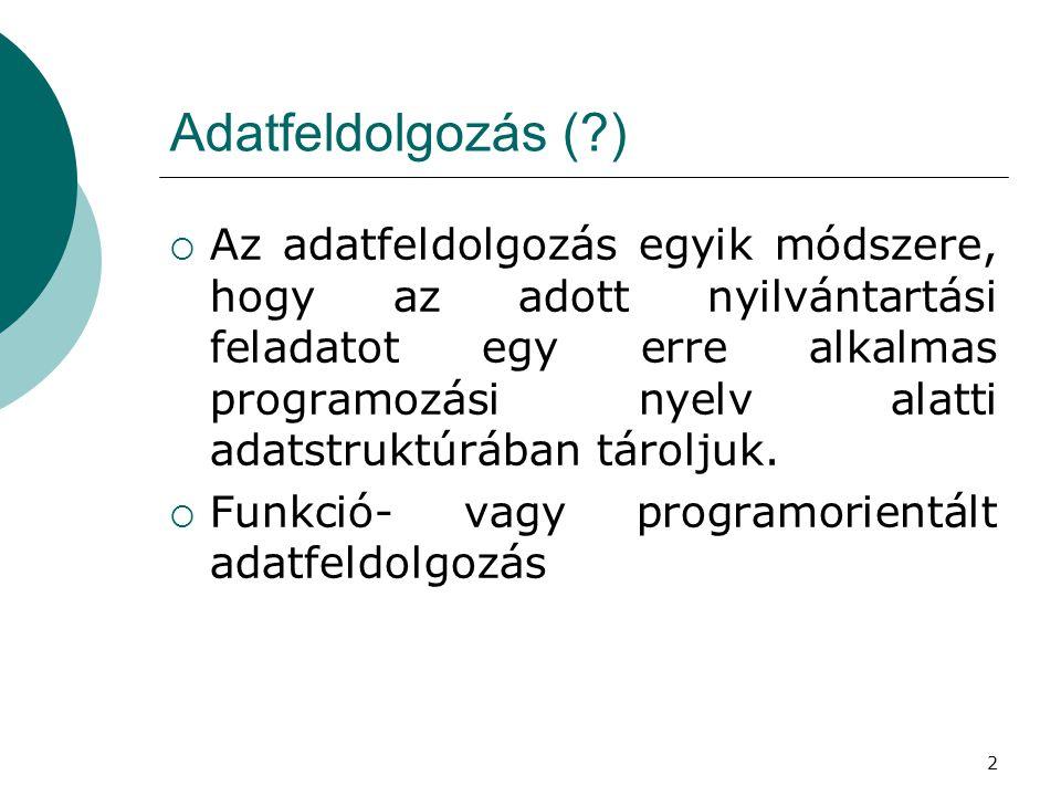 2 Adatfeldolgozás (?)  Az adatfeldolgozás egyik módszere, hogy az adott nyilvántartási feladatot egy erre alkalmas programozási nyelv alatti adatstru