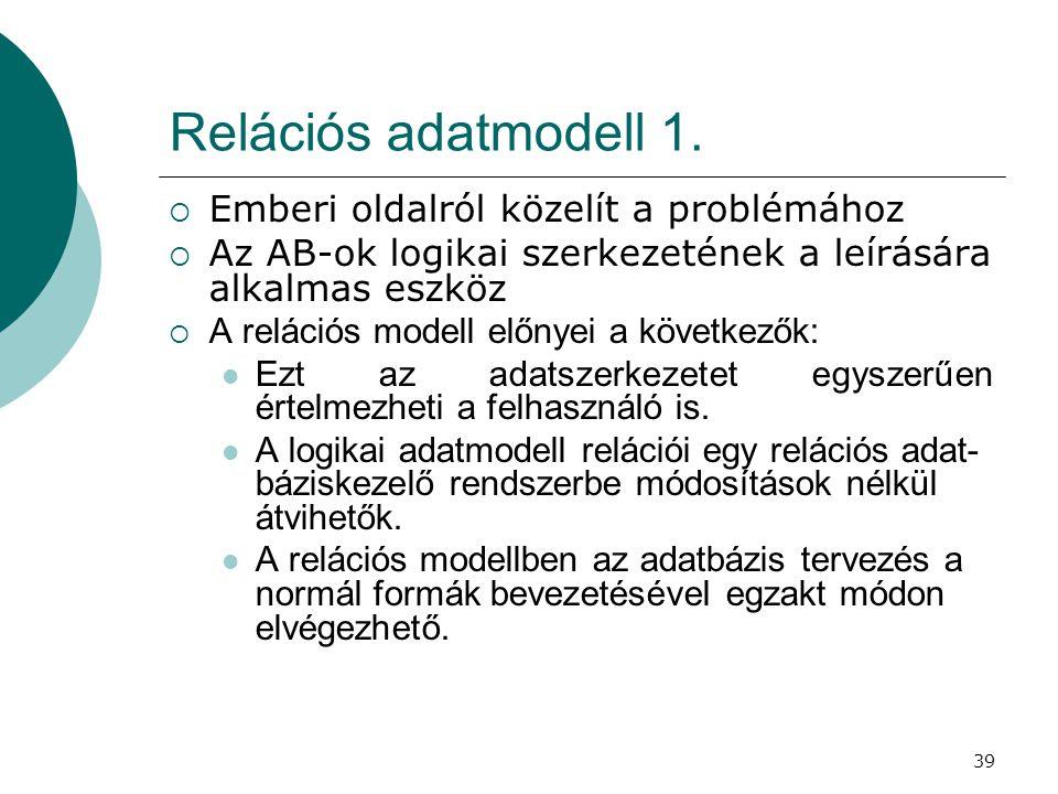39 Relációs adatmodell 1.  Emberi oldalról közelít a problémához  Az AB-ok logikai szerkezetének a leírására alkalmas eszköz  A relációs modell elő
