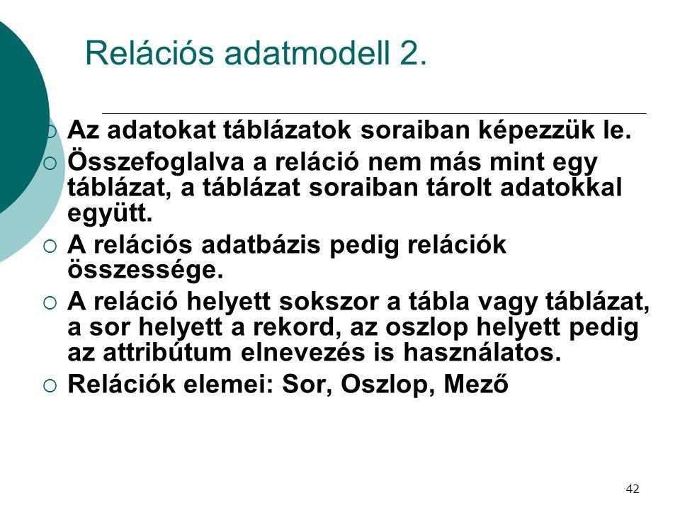 42 Relációs adatmodell 2.  Az adatokat táblázatok soraiban képezzük le.  Összefoglalva a reláció nem más mint egy táblázat, a táblázat soraiban táro