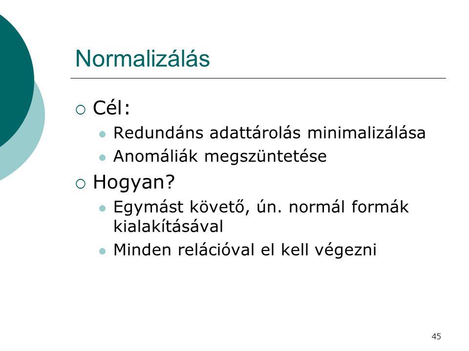 45 Normalizálás  Cél:  Redundáns adattárolás minimalizálása  Anomáliák megszüntetése  Hogyan?  Egymást követő, ún. normál formák kialakításával 