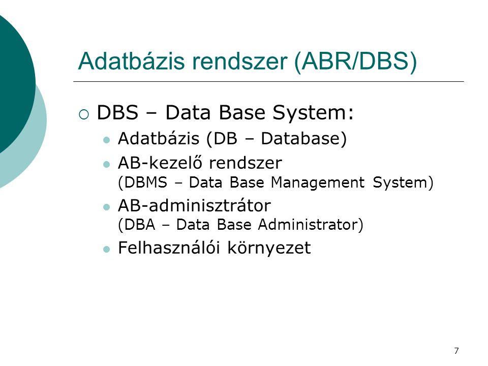 7 Adatbázis rendszer (ABR/DBS)  DBS – Data Base System:  Adatbázis (DB – Database)  AB-kezelő rendszer (DBMS – Data Base Management System)  AB-ad