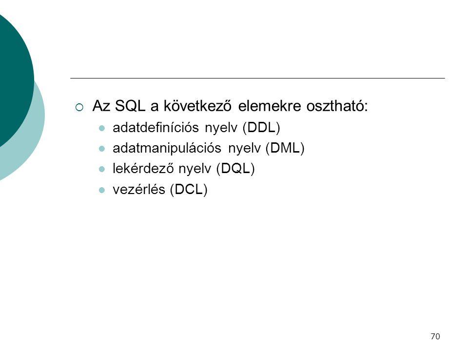 70  Az SQL a következő elemekre osztható:  adatdefiníciós nyelv (DDL)  adatmanipulációs nyelv (DML)  lekérdező nyelv (DQL)  vezérlés (DCL)