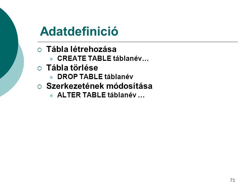 71 Adatdefinició  Tábla létrehozása  CREATE TABLE táblanév…  Tábla törlése  DROP TABLE táblanév  Szerkezetének módosítása  ALTER TABLE táblanév