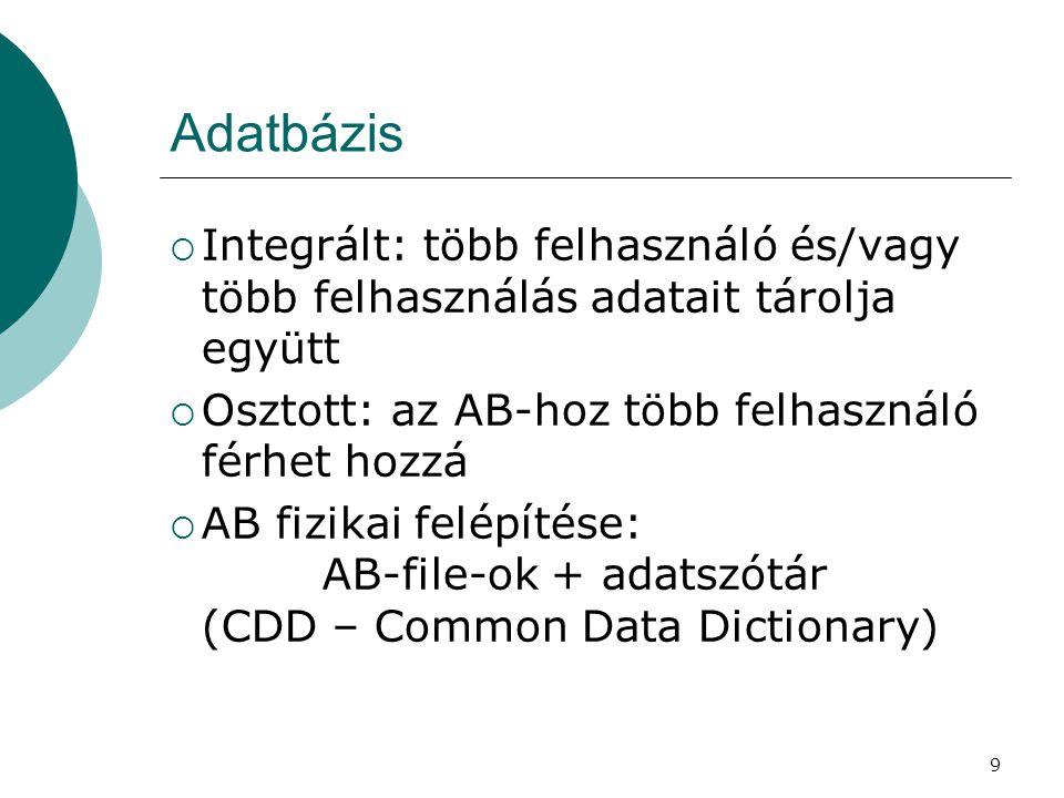 9 Adatbázis  Integrált: több felhasználó és/vagy több felhasználás adatait tárolja együtt  Osztott: az AB-hoz több felhasználó férhet hozzá  AB fiz