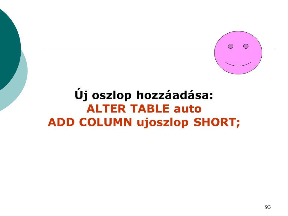 93 Új oszlop hozzáadása: ALTER TABLE auto ADD COLUMN ujoszlop SHORT;