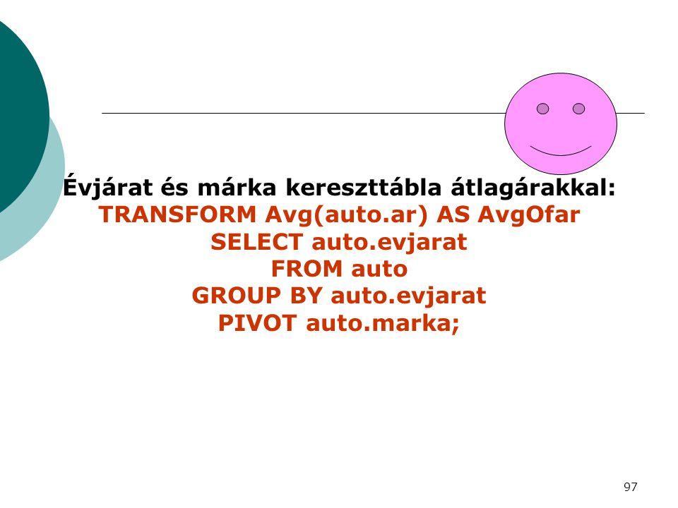 97 Évjárat és márka kereszttábla átlagárakkal: TRANSFORM Avg(auto.ar) AS AvgOfar SELECT auto.evjarat FROM auto GROUP BY auto.evjarat PIVOT auto.marka;