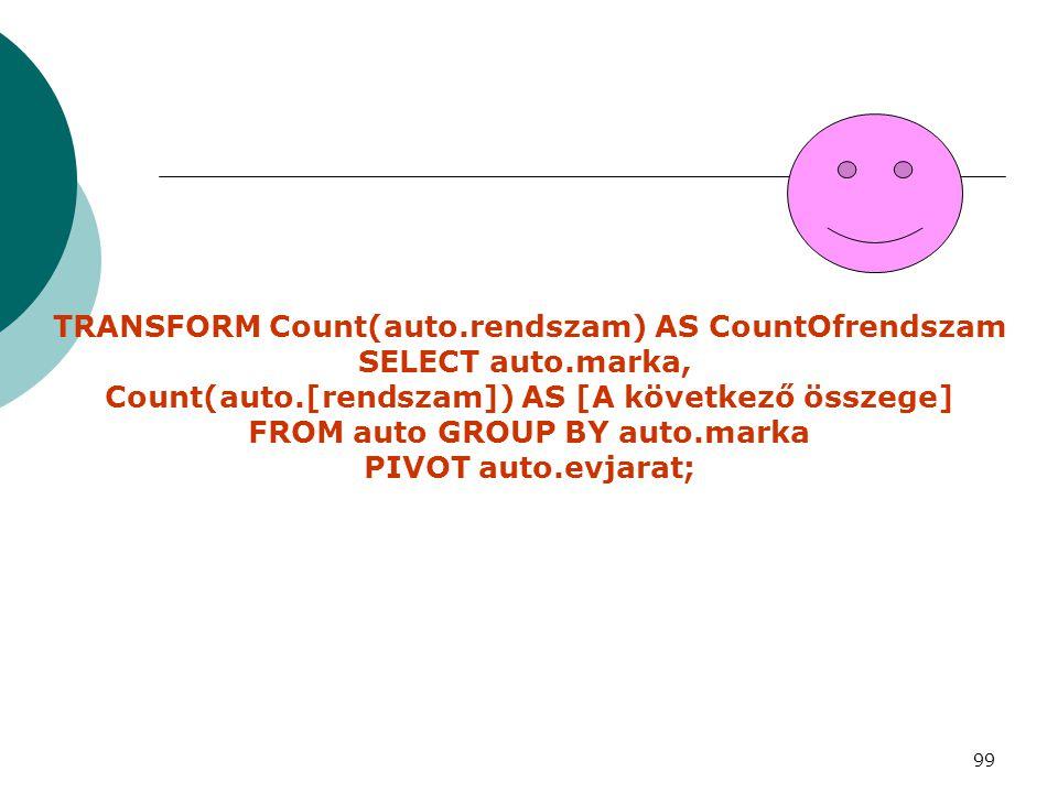 99 TRANSFORM Count(auto.rendszam) AS CountOfrendszam SELECT auto.marka, Count(auto.[rendszam]) AS [A következő összege] FROM auto GROUP BY auto.marka