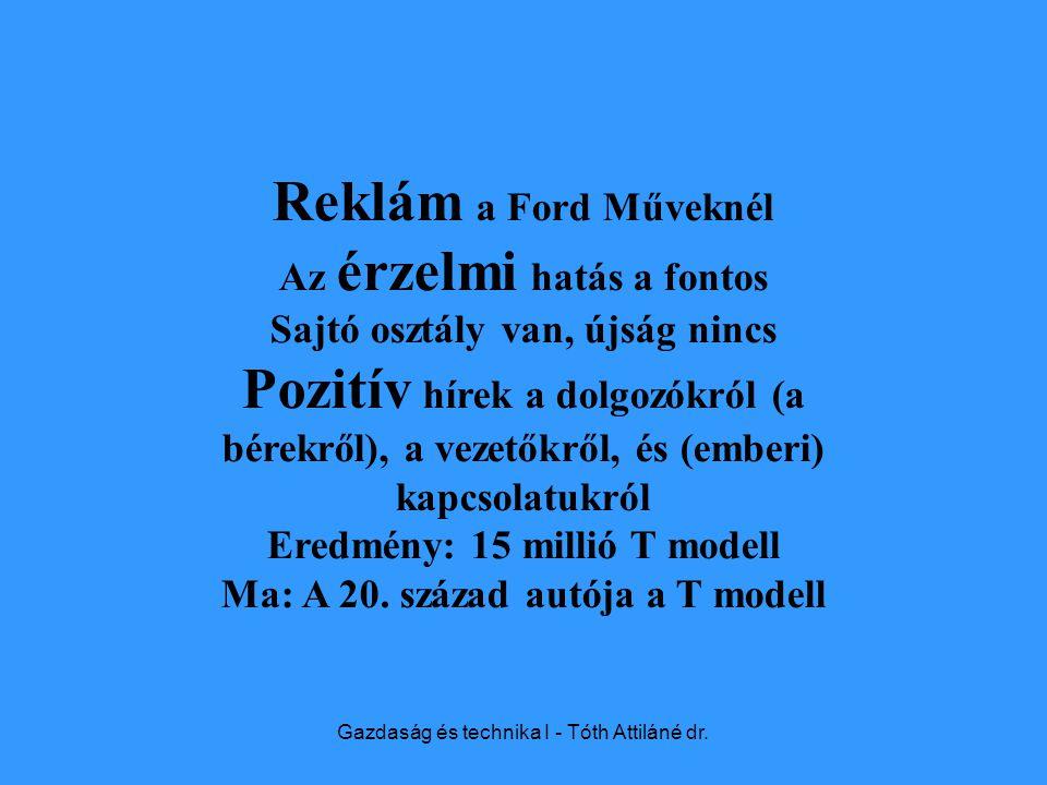 Gazdaság és technika I - Tóth Attiláné dr.
