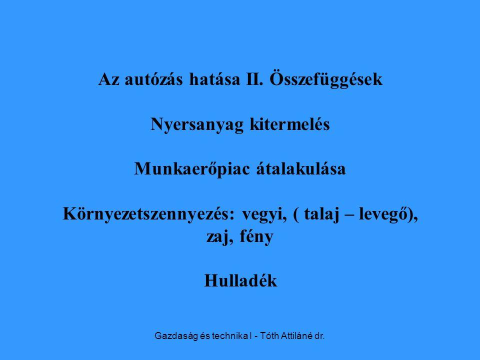 Gazdaság és technika I - Tóth Attiláné dr. Az autózás hatása II.
