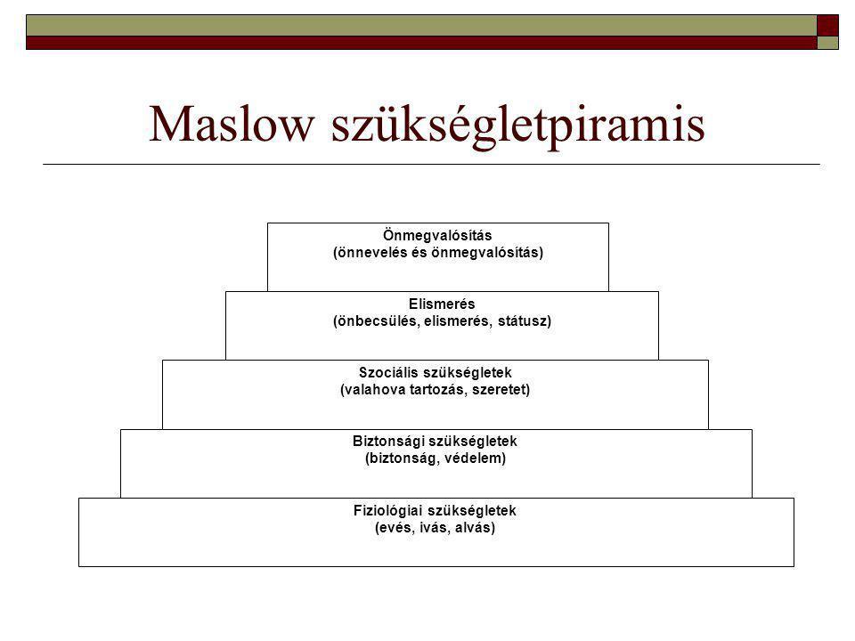 Maslow szükségletpiramis Önmegvalósítás (önnevelés és önmegvalósítás) Elismerés (önbecsülés, elismerés, státusz) Szociális szükségletek (valahova tartozás, szeretet) Biztonsági szükségletek (biztonság, védelem) Fiziológiai szükségletek (evés, ivás, alvás)