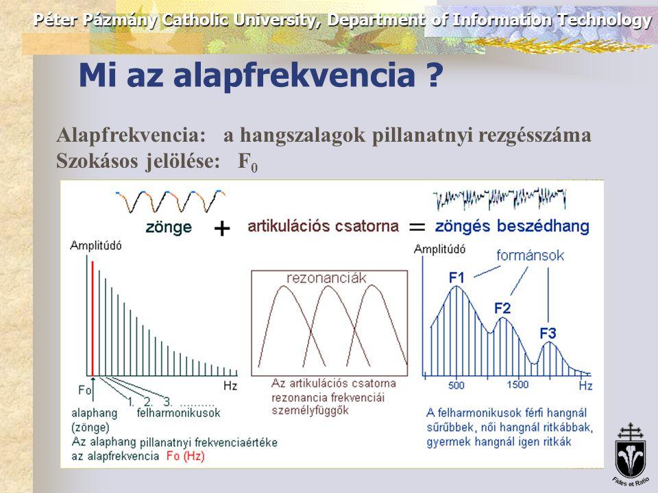 Péter Pázmány Catholic University, Department of Information Technology Pitch detektorok alkalmazásai  Low-bitrate speech coding: pitch adaptive (pl.