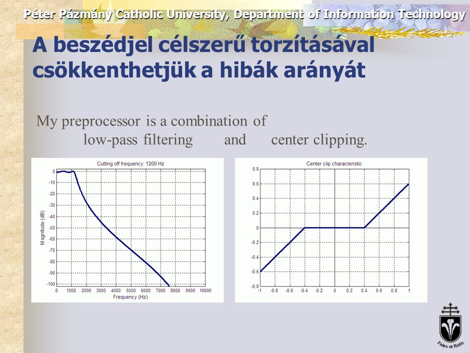 Péter Pázmány Catholic University, Department of Information Technology F0 contour with ACF method Applying ACF directly on speech signal: Preproc.