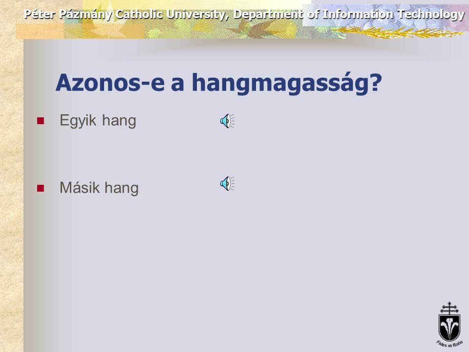 Péter Pázmány Catholic University, Department of Information Technology Azonos-e a hangmagasság.